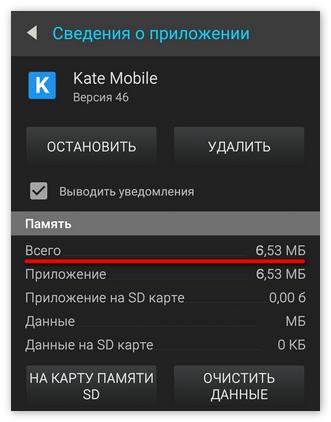 Занимаемая приложением память